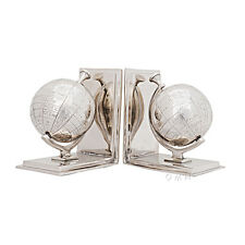 "Chrome World Globe Bookend Cast Aluminum 7.75"" Nautical Desk Top Bookcase Decor"