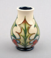 Moorcroft Pottery Holly & Berries Pattern Vase Signed by Philip Gibson