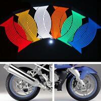 16 Strips Reflective Motorcycle Car Rim Stripe Wheel Decal Tape Sticker New