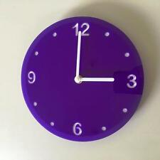 Round Purple & White Clock (White Backed) White Hands, Silent Sweep Movement