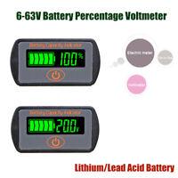 LCD 6-63V Lithium Lead-Acid Battery Status Voltage Voltmeter Monitor Meter Car