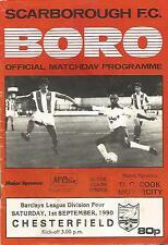 Programma di calcio-Scarborough V Chesterfield-DIV 4 - 1/9/1990