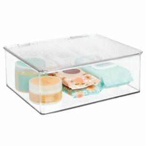 mDesign Storage Bin with Lid for Bathroom, Vanity - Clear
