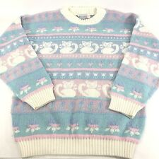 Rose Sweater S-M Womens Vintage Kawaii Cats Pastel Acrylic Pink Blue White 80s
