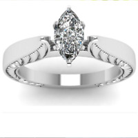 Elegant Marquise Cut White Sapphire Wedding Ring 925 Silver Engagement Jewelry