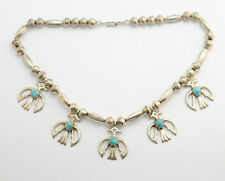 Vintage Navajo Firebird Turquoise Necklace Sterling SIlver Hand Cast