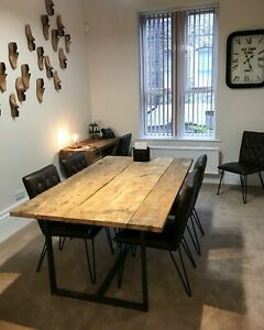 Meeting Room Rustic Dining Table made from Scaffold Boards & Steel Box Section L