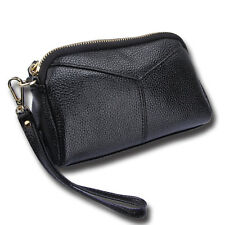 Real Leather Womens Wristlet Clutch Handbag Purse Lady's Black Wallet Pocket
