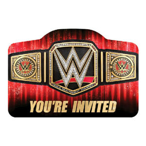 WWE Smash Invitations with Envelops (8ct) Boys Birthday Party Supplies Wrestling