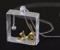 Halskette Damen Silberkette Sterling Silber 925 Kette Anhänger Katze Collier