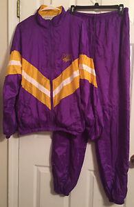 Vintage 90's Purple Gold LSU Louisiana State Tracksuit Pants Jacket Nylon M