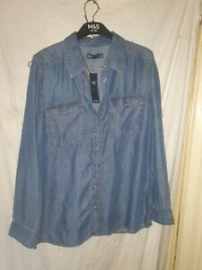 MARKS AND SPENCER DENIM SHIRT  NEW WITH TAGS SZ 10 PRICE IS  29.50 ON TAGS