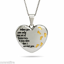 3-D Puffy Footprints In The Sand HEART Necklace, PRIORITY 2 to 3 DAYS Shipping!