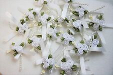 3cm Satin Ribbon Bow with 3 Rose Cluster and Beads x 20 White
