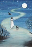 LE HALLOWEEN POSTCARD 3/200 RYTA WITCH 4x6 CROW GHOST SPIRIT BLACK CAT RAVEN ART