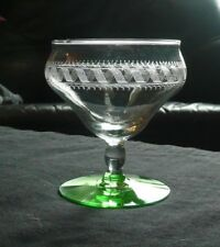 Vintage Squiggle Wave Etched Band Green Foot Base Champagne Stemware Glass