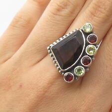 925 Sterling Silver Real Smoky Topaz Red Garnet Peridot Gemstone Ring Size 8 3/4