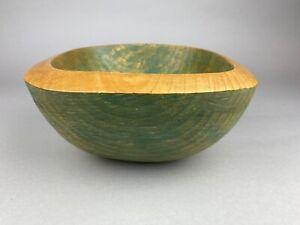 Handmade Sycamore Bowl - Wax Finish - 25cm Diameter - Green - Circa 1995 - 1640g