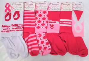 Pink Ribbon Knee High Socks Breast Cancer Awareness Assorted Styles Fits Most