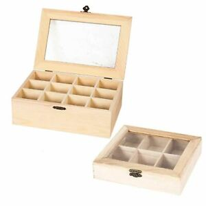 Real Wood Compartment Boxes w Window - Tea Storage Caddy Natural Craft Section