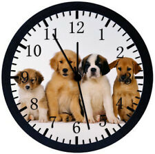 Cute Puppy Dog Black Frame Wall Clock Nice For Decor or Gifts W151
