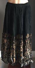 RUBI PESINI Black & Tan Print Pleat Peasant Skirt Size 10 - Beautiful Boho Vibe!
