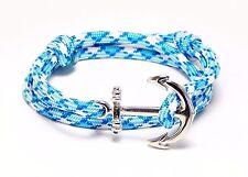 Nautical Anchor Bracelet Paracord Men Women Fashion Alloy Hand Made USA Blue