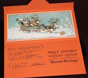Walt Disney Archives 1932 Christmas Card Imprint Signature Laugh-O-Gram Employee
