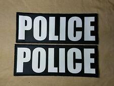 "2-Pack 3x8"" POLICE Black White Hook Back Morale Raid Patch Badge SWAT Lot"