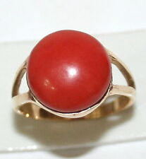ANTIQUE 12mm SUPERB BEAUTIFUL ROUND CABOCHON RED CORAL 9K YELLOW GOLD FINE RING