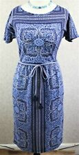 White Stuff ~ size 10 ~ 'Ink Pot Indian Summer' blue linen mix sheath dress