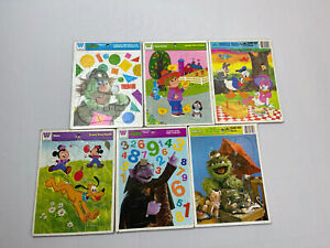 Lot of 6 Vintage Golden And Whitman Frame Tray Puzzles - Disney & Sesame Street