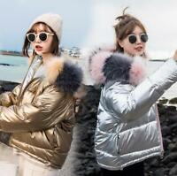 Winter Women jacket hooded Bright Cotton Parka Thickening Warm Short Silver Coat