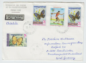 CAMBODIA 1983, AIR MAIL LETTER TO GERMANY, NICE FRANKING!