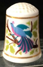 1983 Fp Franklin Porcelain American Heirloom Quilt Thimble Bird Of Paradise