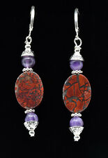 B&B Collection -Brecciated Red Jasper & Amethyst W/Sterling Leverback Earrings