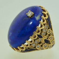 14K Oversized Lapis Diamond & Enamel Ring
