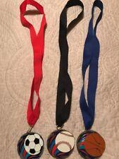 Lot of 3 Sports Medals w/ Lanyard Soccer Basketball Baseball