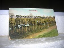 WWI POSTCARD US ARMY IN MESS LINE  PHOTO COLORIZED