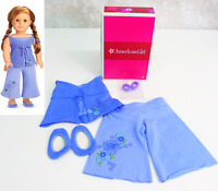 NEW American Girl Doll MIA PJ'S SET Purple Pajamas Outfit Slippers Hair Ties BOX