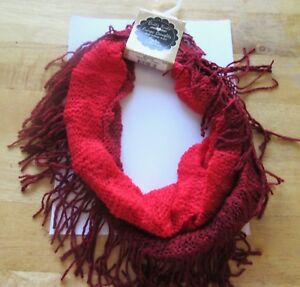 Fringe Benefits Ombre Collection Knit Infinity Scarf red 100% Acrylic -Fringe