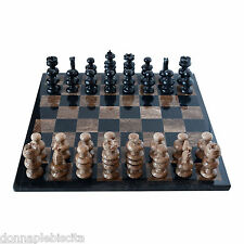 Scacchiera Intarsi in Marmo Nero Pietra Fossile + Scacchi Marble Chess Set 35cm