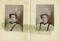"2 Antique Photos -  PrettyYoung Lady, 1 W/Hat, 1 W/Hat & Veil, 6"" x4 1/4"""