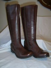 Womens/ladies Hush Puppies size 4 brown leather knee high boots.GC!