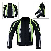 New Men's Motorcycle Motorbike Jacket Waterproof Textile With CE Armoured Hiviz