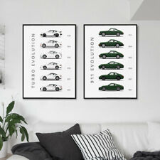The Evolution of Porsche 911 and Turbo Canvas Painting Car Poster Print 959 996