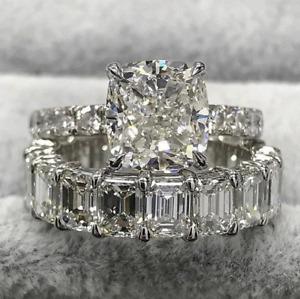 Delicate 10Ct Round Cut Diamond Bridal Set Engagement Ring 14K White Gold Finish