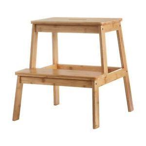 Bamboo 2 Tier Safe Step / Stool  Bathroom Toilet Kitchen Natural Capacity 80Kg