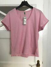 T-Shirt aus Bio-Baumwolle Hellrosa Benetton Größe L neu mit Etikett