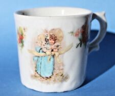 Antique Hand Painted Embossed Baby Drinking Cup Mug, 1930's Little Girl in Blue